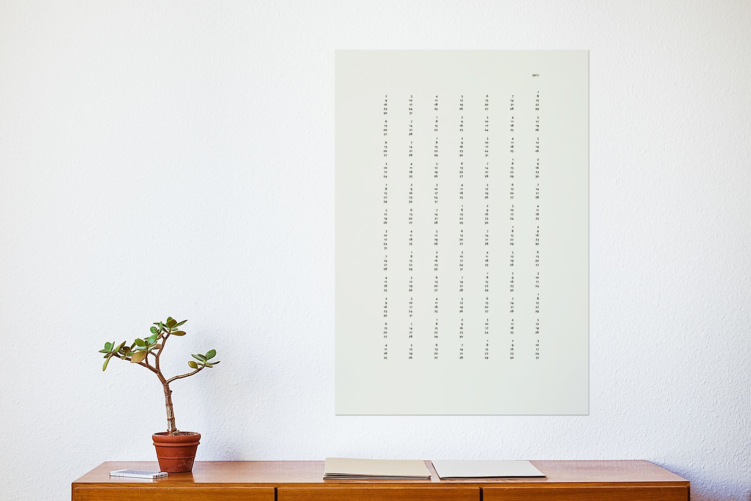 The minimalistic calendar consists of  7 columns and 12 rows.