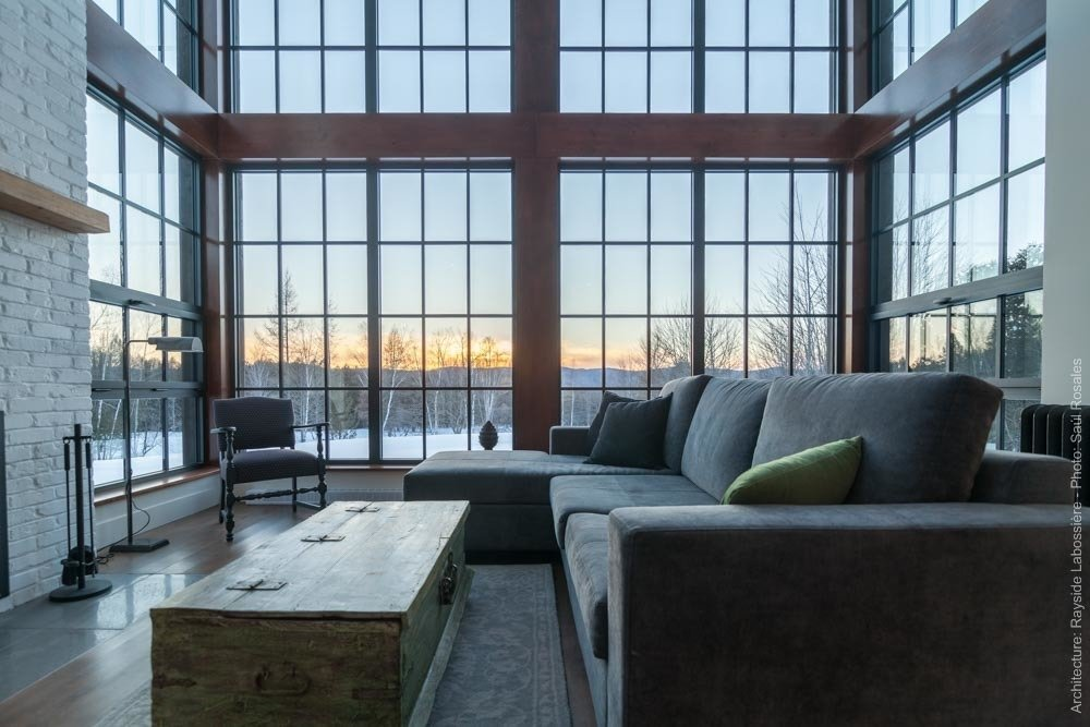 The living room was designed to face West in order to catch the sunset.