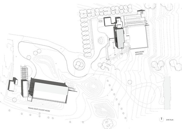 site plan showing Main House by George Hascup (upper right) and Tennis Court/Guest House (lower left) by Hascup/Austin+Mergold Photo 12 of Covered Tennis Court complex modern home