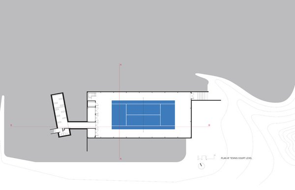 cellar & court level plan Photo 14 of Covered Tennis Court complex modern home
