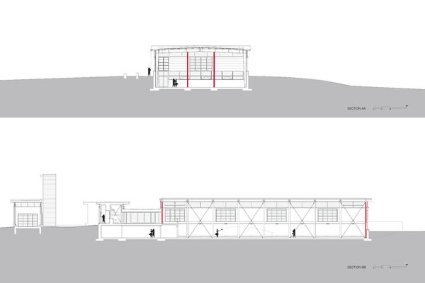 cross- and longitudinal sections Photo 15 of Covered Tennis Court complex modern home