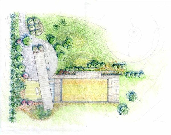 landscaping plan Photo 18 of Covered Tennis Court complex modern home