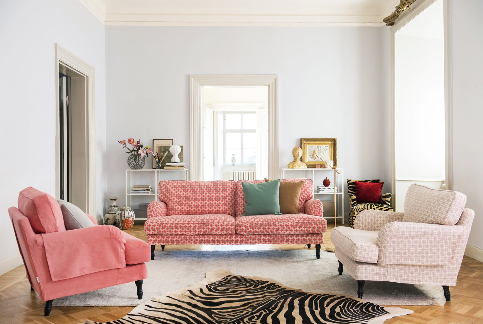 IKEA Stocksund sofa with a Bemz cover in Cubis Pomela. IKEA Stocksund armchair with a Bemz x Romo cover in Cubis Rose Quartz and Linara Pomela.  Photo 5 of 13 in 15 Flower Arrangements That Will Brighten Your Home on Valentine's Day