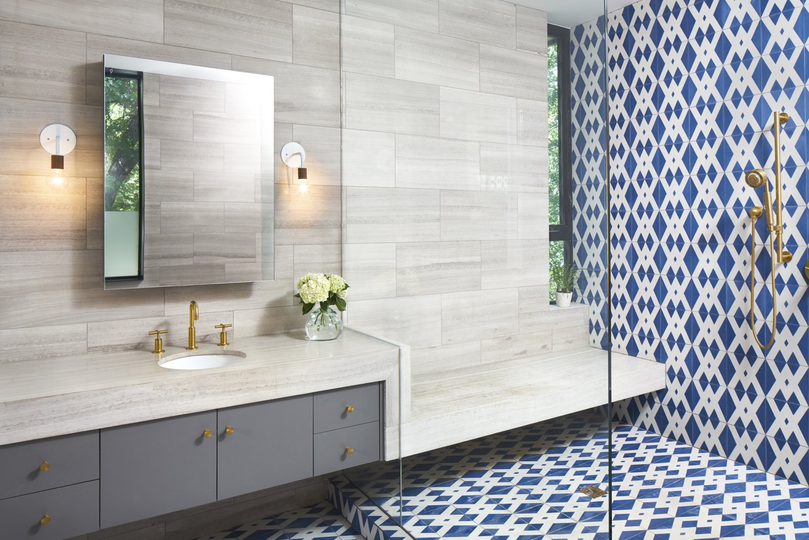 Master bathroom vanity and  'wet room'. Materials are encaustic concrete tile, limestone tile. Airole Way Residence by Jamie Chioco