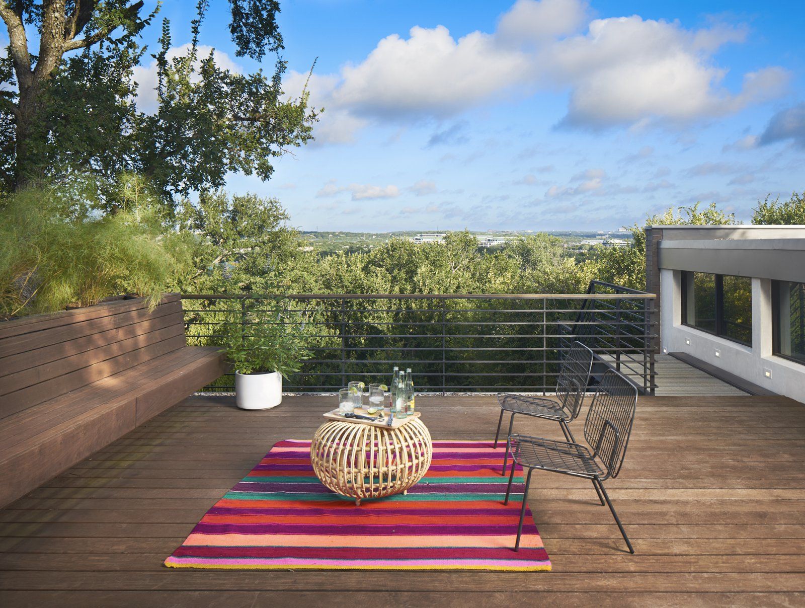 Roof deck to the view of the Austin's Greenbelt  Airole Way Residence by Jamie Chioco