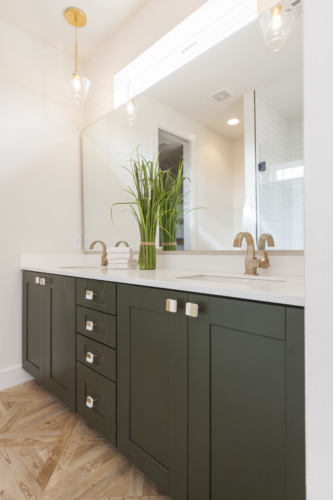 Unit A - Master Bath - Here we used a green that we found from a shirt we had and had it color matched because,  why not :)
