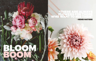 Left: Art Direction: By the amazing team at The Artful Desperado and Ali & Sunday, Floral Arrangements: Ali & Sunday, Photography: Tomasz Wagner, Right: Instagram/ Olivia Lea