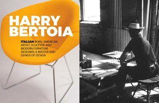 Inspiring Icon / Harry Bertoia - Photo 1 of 7 - Left: Diamond chair in yellow with cover, Right: Harry in his studio