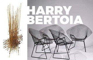 Inspiring Icon / Harry Bertoia - Photo 5 of 7 - Left: Cornet Sculpture, 1964, Image courtesy of Sotherbys, Right: The famous Diamond chairs for Knoll