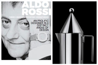 Inspiring Icons/ Aldo Rossi - Photo 1 of 9 - Left: Portrait Of Aldo Rossi, Right: Alessi La Conica Coffee pot, 1980-83