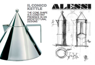 Inspiring Icons/ Aldo Rossi - Photo 2 of 9 - Left: Il Cinco Kettle, Right: Sketches of the La Conica Coffee pot for Alessi