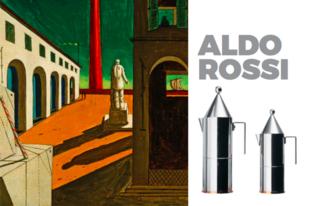 Left: Painting bt Aldo Rossi, Right La Conica Coffee pot for Alessi