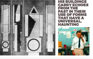 Inspiring Icons/ Aldo Rossi - Photo 9 of 9 - Left: Sketch, Right Aldo Rossi in his office, 1980's