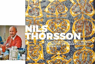 "Inspiring Icons / Nils Thorsson - Photo 1 of 9 - Left: Portrait of Nils, shot in 1972 in his studio, Image from the book""The Royal Copenhagen Porcelain Manufactory 1775-1975"" Right: Detail of a platter from the Baca range"