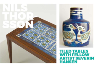 Left: Furniture using tiles designed by Nils, Right: Bird motif vase from the Baca range