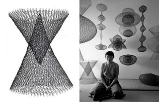 Inspiring Icons / Ruth Asawa - Photo 2 of 5 - Left: Untitled 1950-55, Right: Portrait of Ruth Asawa by Imogen Cunningham