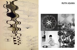 Inspiring Icons / Ruth Asawa - Photo 3 of 5 - Left: Sketch by Ruth Asawa, Right: Clockwise: Tied, Photo of Ruth and her children by Imogen Cunningham, Ruth in her home, phot by Imogen Cunnningham, Untiled, 1950's