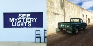 Instagram / Marfa / Texas - Photo 4 of 6 - Left: The Mystery Lights sign at Thunderbird, Right: Vintage Jeep parked, Photography: Marcus Hay for SMH, Inc