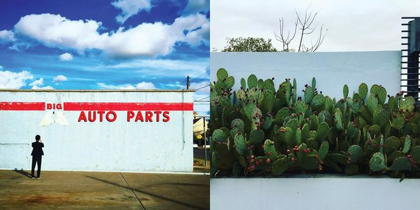 Left: The town is full of disused gas stations converted into galleries and shops, Right: Cacti at Thunderbird, Photography: Marcus Hay for SMH, Inc
