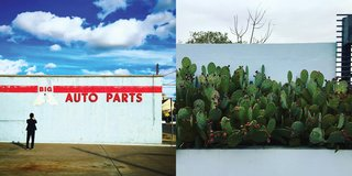 Instagram / Marfa / Texas - Photo 5 of 6 - Left: The town is full of disused gas stations converted into galleries and shops, Right: Cacti at Thunderbird, Photography: Marcus Hay for SMH, Inc