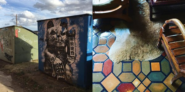 Left: Art covered dumpsters, Right: The floor at the famous Hotel Paisano where Elizabeth Taylor stayed while filming Giant Photography: Marcus Hay for SMH, Inc