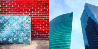 Instagram / Chigago / Illinois - Photo 3 of 6 - Left: North of the city and abandoned sky blue mattress against a red brick wall, Right: Skyscrapers face off