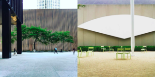 Left: The Mies forecourt with an amazing tree, Right: Ellsworth Kelly at The Chicago Institute of Art, a must see!