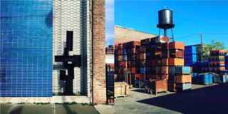Left: Blue tiled wall, north of the city on Broadway with Brutalist sculpture, Right: Shipping yards