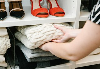 If your closet has storage, make the most of it by organizing; Source: Angi Welsch/Goop