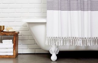 Bath Collection: Behind the Design + Styling Tips - Photo 3 of 6 - The Turkish Shower Curtain features a fetching, hand-knotted fringe hem; Source: Nicole LaMotte/Parachute