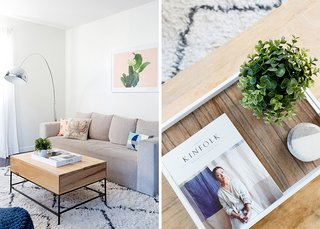 How to Design an Apartment You and Your Roommate Love - Photo 2 of 10 - Industrial Storage Coffee Table: West Elm. Walton Sofa: West Elm. Throw Pillows: World Market; Source: Amy Bartlam/Parachute