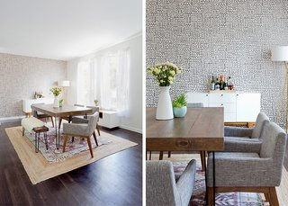 How to Design an Apartment You and Your Roommate Love - Photo 5 of 10 - Big Moon Wallpaper: JuJu Papers. Modern Buffet: West Elm. Natura Hand Spun Jute Rug (bottom): Rugs USA; Magical Thinking Hana Kilim Printed Rug (top): Urban Outfitters; Source: Amy Bartlam/Parachute