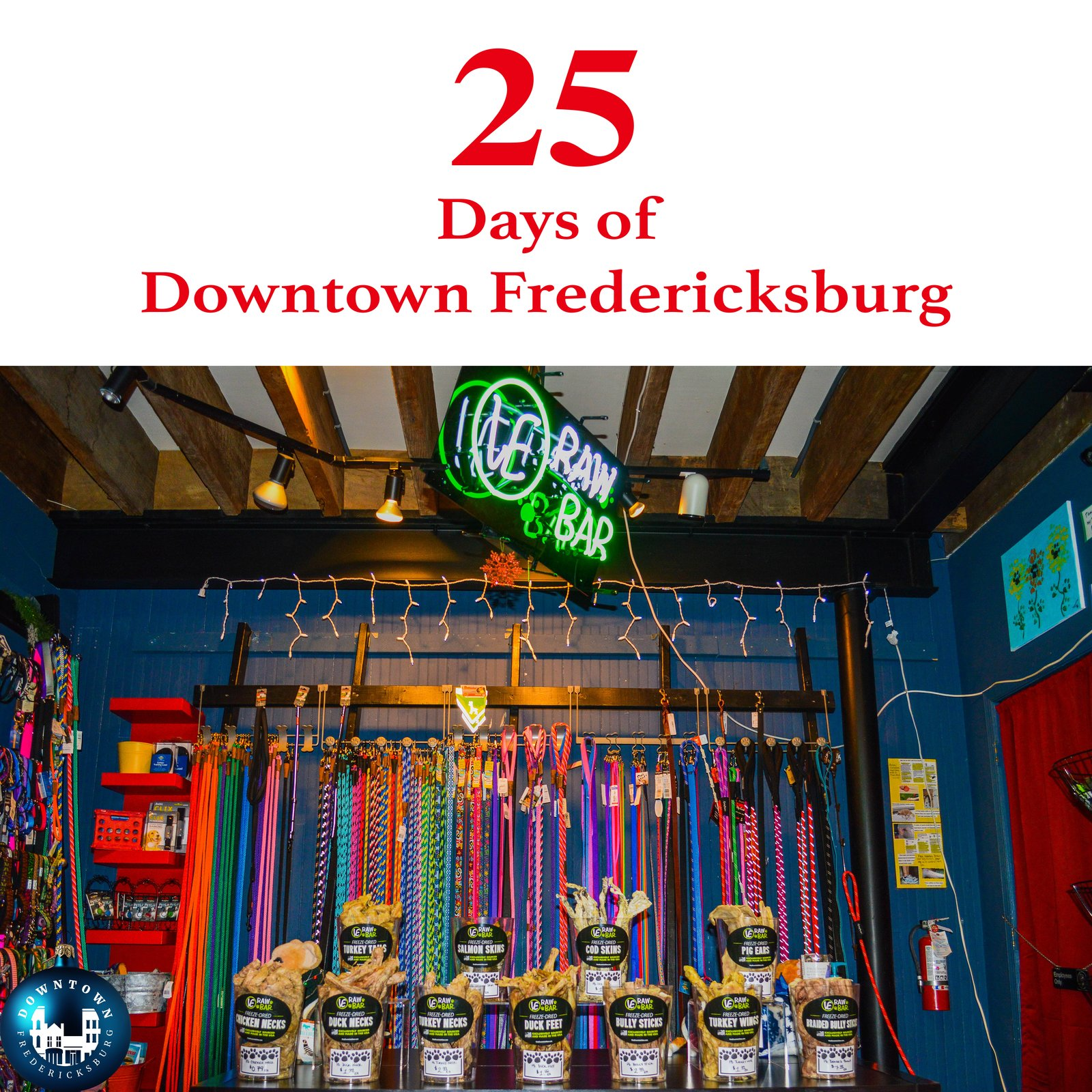 Gift Six Santa Paws is coming to town, and he's stopping by Dog Krazy for your furry friends. www.facebook.com/DowntownFredericksburg  25 Days of Downtown Fredericksburg by Downtown Fredericksburg
