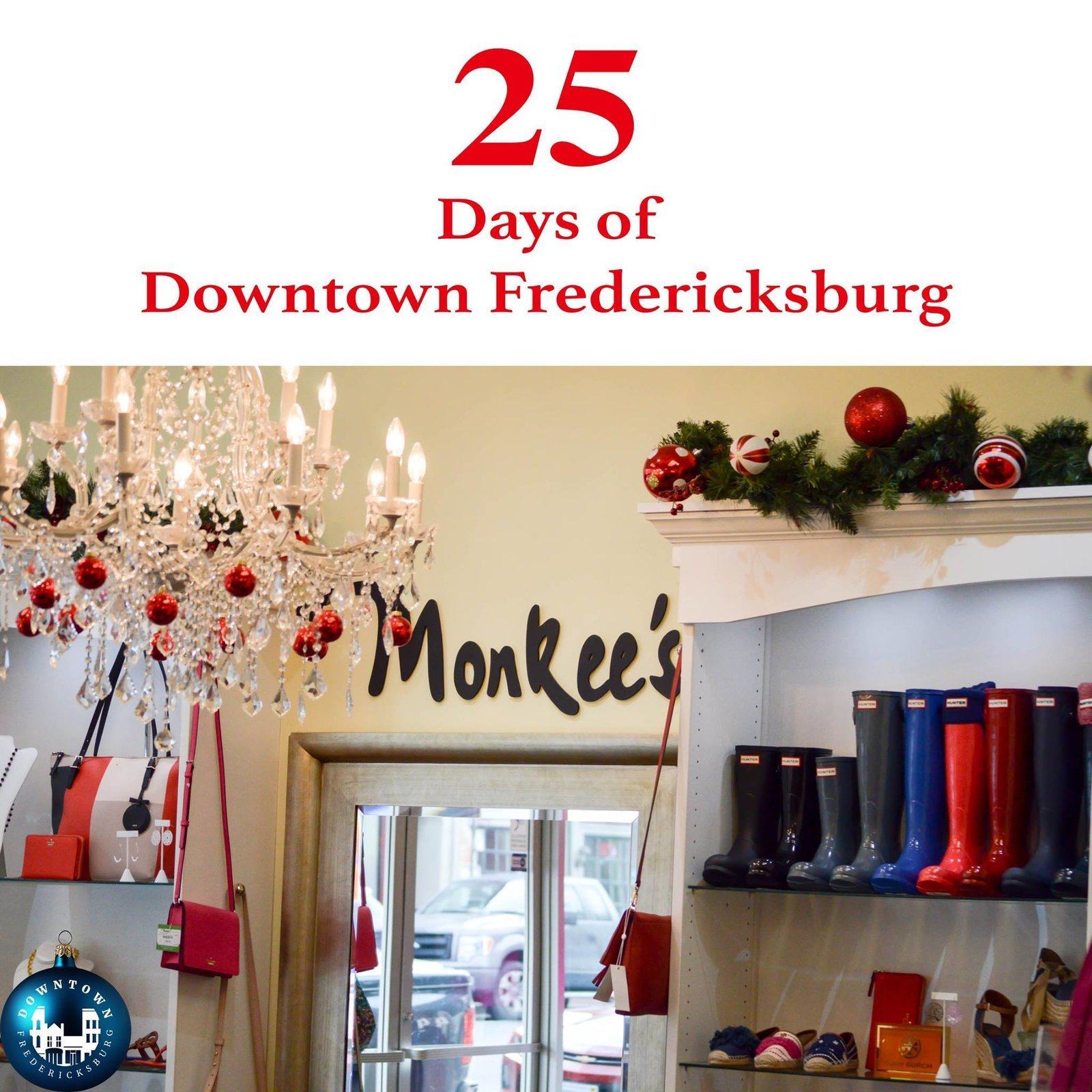Gift Twenty-four Hunter, Barbour, and Lilly make the season bright! If you are last minute holiday shopping today, Monkee's of Fredericksburg has you covered. https://www.facebook.com/DowntownFredericksburg/  25 Days of Downtown Fredericksburg by Downtown Fredericksburg