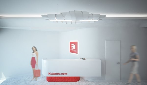 The interior is dominated by white color, as a representation of cleanness. The smooth, curvy entrance hall expands into the waiting room. The red design elements are derived from the two-colored logo of the clinic. Despite the limitations presented by formerly existed layout, to which the new aesthetics had to be applied, current design came to life as a harmonious piece of its own.  Photo 2 of Kuzanov Clinic modern home