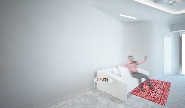 The interior is dominated by white color, as a representation of cleanness. The smooth, curvy entrance hall expands into the waiting room. The red design elements are derived from the two-colored logo of the clinic. Despite the limitations presented by formerly existed layout, to which the new aesthetics had to be applied, current design came to life as a harmonious piece of its own.  Photo 5 of Kuzanov Clinic modern home