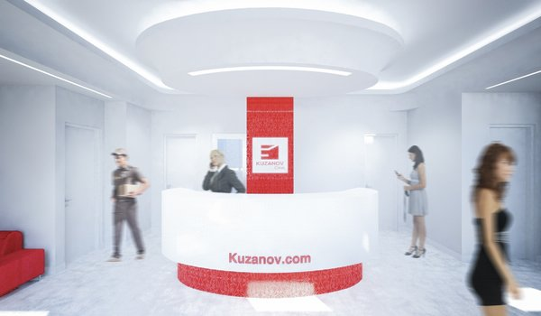 The interior is dominated by white color, as a representation of cleanness. The smooth, curvy entrance hall expands into the waiting room. The red design elements are derived from the two-colored logo of the clinic. Despite the limitations presented by formerly existed layout, to which the new aesthetics had to be applied, current design came to life as a harmonious piece of its own.  Photo 3 of Kuzanov Clinic modern home