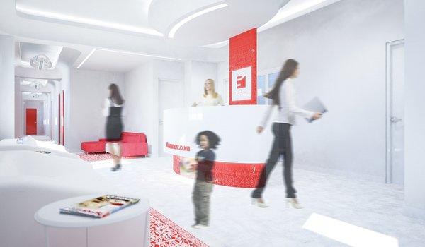 The interior is dominated by white color, as a representation of cleanness. The smooth, curvy entrance hall expands into the waiting room. The red design elements are derived from the two-colored logo of the clinic. Despite the limitations presented by formerly existed layout, to which the new aesthetics had to be applied, current design came to life as a harmonious piece of its own.  Photo 4 of Kuzanov Clinic modern home