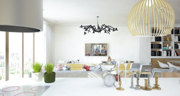 Previously existing walls were brought down, in order to create an open space, unifying a kitchen, a dining room and a living room. Merging aesthetic continues on to the bedroom, where two sinks and the wardrobe become the part of the room, as opposed to traditional approach of keeping them locked away from eye.  The apartment overlooks the city and the mountains, and for the outer visual richness to be fully embraced, the windows were enlarged to the wall scale.  Photo 12 of Double N Residence modern home