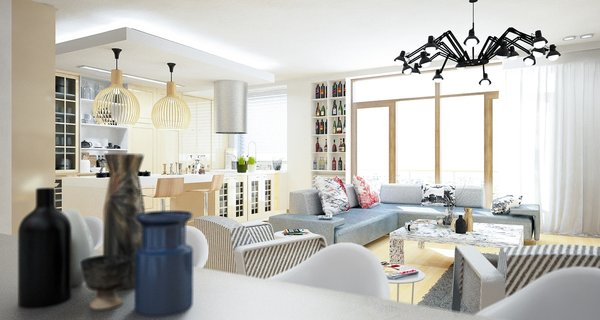 Previously existing walls were brought down, in order to create an open space, unifying a kitchen, a dining room and a living room. Merging aesthetic continues on to the bedroom, where two sinks and the wardrobe become the part of the room, as opposed to traditional approach of keeping them locked away from eye.  The apartment overlooks the city and the mountains, and for the outer visual richness to be fully embraced, the windows were enlarged to the wall scale.  Photo 4 of Double N Residence modern home