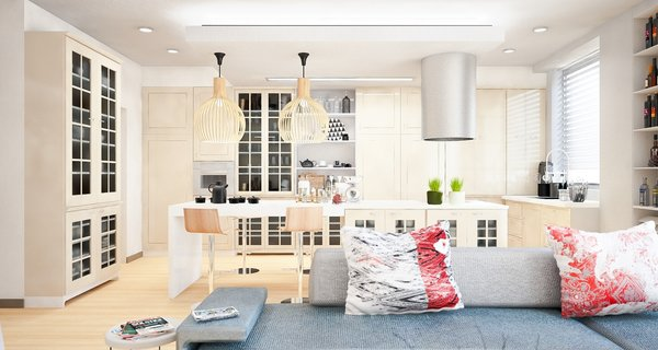 Previously existing walls were brought down, in order to create an open space, unifying a kitchen, a dining room and a living room. Merging aesthetic continues on to the bedroom, where two sinks and the wardrobe become the part of the room, as opposed to traditional approach of keeping them locked away from eye.  The apartment overlooks the city and the mountains, and for the outer visual richness to be fully embraced, the windows were enlarged to the wall scale.  Photo 2 of Double N Residence modern home