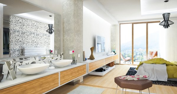 Previously existing walls were brought down, in order to create an open space, unifying a kitchen, a dining room and a living room. Merging aesthetic continues on to the bedroom, where two sinks and the wardrobe become the part of the room, as opposed to traditional approach of keeping them locked away from eye.  The apartment overlooks the city and the mountains, and for the outer visual richness to be fully embraced, the windows were enlarged to the wall scale.  Photo 15 of Double N Residence modern home