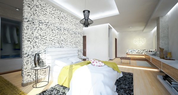 Previously existing walls were brought down, in order to create an open space, unifying a kitchen, a dining room and a living room. Merging aesthetic continues on to the bedroom, where two sinks and the wardrobe become the part of the room, as opposed to traditional approach of keeping them locked away from eye.  The apartment overlooks the city and the mountains, and for the outer visual richness to be fully embraced, the windows were enlarged to the wall scale.  Photo 8 of Double N Residence modern home
