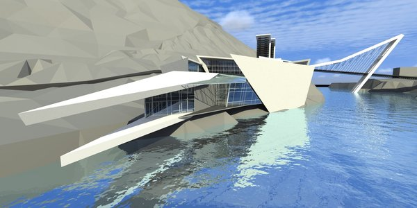 The university building design is complementing natural forms of the landscape on which it dwells. Entire exterior has a sense of continuum, as if one piece of cloth was folded in different directions. All auditoriums, the sports room, the theater and the administrative building face the water and embrace a sunlight all the long. But the first time the eye encounters the water, is when a visitor enters the building. The entrance hall also bridges the administration and the south wing. The sports room has the wall-length glass windows, facing the hillside and the angular quay for kayaking events. Four storied part of the building, which is the closest one to the bridge [built specifically for this project], belongs to the university administration and connects the rest of the space to the underground theater, that extends out from within the hill.  On the right side of the bridge is the campus building, aesthetically resembling the university architecture.  Photo 5 of Rockcrawler modern home