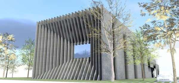 Every angle of the building informs a viewer of its primary purpose: securing the data; The entrance door and the front windows are hidden perpendicularly behind the concrete panels. If viewed from the sides, it leaves the impression of the building being dissected by the parallel concrete layers, the gaps of which are filled with glass. The negative space in the middle of the building serves as a garden.  All external layers of the building, except for the backside, appear to be either folding in or outwards.  The generators are located outside of the building and are also concealed with the concrete slabs.  Photo 9 of DT 0010 modern home