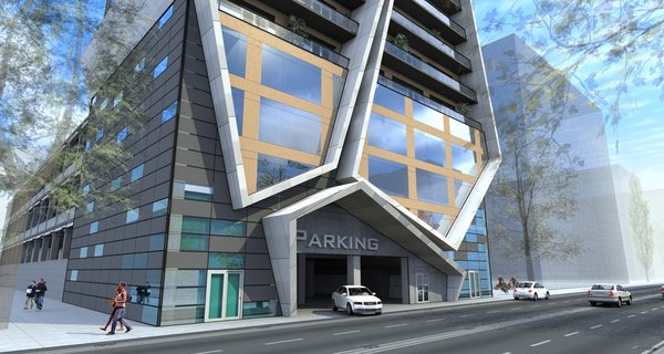 The framework of the apartment building is intercepted by the large, polygon shaped forms. Each one of these massive structures is irregularly angled in relation to the basic structure, giving the exterior more volume and a sense of movement.  The first 4 floors are elongated in the back and are assigned to the garage. This was the fundamental idea, upon which the rest of the space was built.  Photo 4 of R01 Hyper modern home