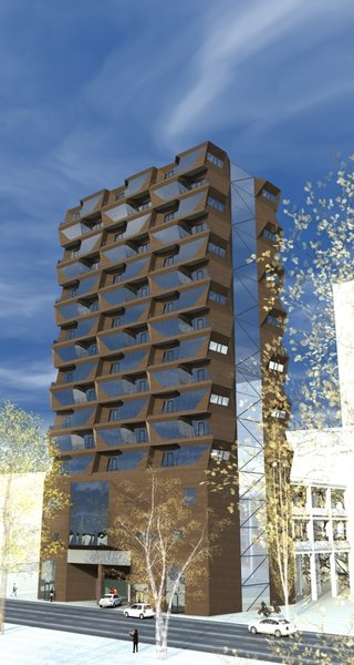 The apartment building is modular. Every module was individually designed, in a manner that they would harmoniously grow into each other, creating the unified sculptural space. The facade wall of each bedroom is leaning out, blocking the view from the residents' balcony to the neighboring one, stressing the idea of privacy as a focal concept for the structure. First 4 floors are elongated in the back and are assigned to garage. This was the fundamental idea, upon which the rest of the space was built.  Photo 4 of R02 Modular modern home