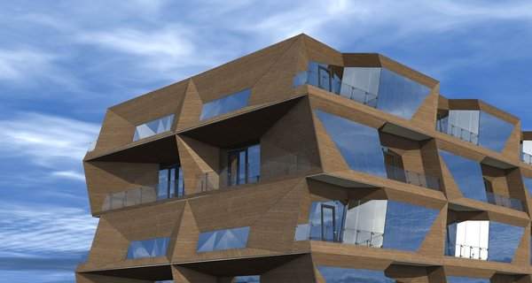 The apartment building is modular. Every module was individually designed, in a manner that they would harmoniously grow into each other, creating the unified sculptural space. The facade wall of each bedroom is leaning out, blocking the view from the residents' balcony to the neighboring one, stressing the idea of privacy as a focal concept for the structure. First 4 floors are elongated in the back and are assigned to garage. This was the fundamental idea, upon which the rest of the space was built.  Photo 5 of R02 Modular modern home
