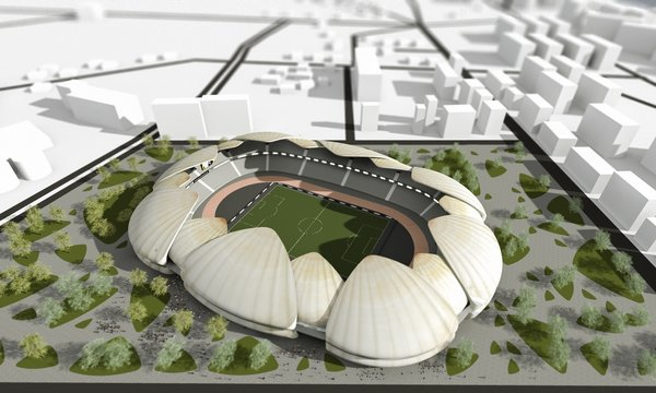 3 days were the time limitation for creating 3 different designs for the stadium, residing at the seaside. Location strongly inspired aesthetics. 1] Exterior is covered by sleek round forms, clearly resembling shells. Outer layer is slit horizontally in the middle, making room for the hallway. 2] Large colorful structures, folding up into angular shapes, were inspired by paper ship. 3] Minimalistic, smooth, wave-like shape flows around the arena. The first floor and the mid section is occupied by shops. Natural light penetrates the structure through the large grooves, gliding horizontally throughout the middle area. \ Models were submitted to the design competition and 3 distinct creative approaches to the project were offered in order to satisfy wide range of aesthetic appetites.  Photo 6 of Batumi Arena modern home