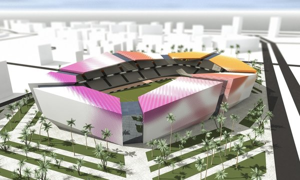 3 days were the time limitation for creating 3 different designs for the stadium, residing at the seaside. Location strongly inspired aesthetics. 1] Exterior is covered by sleek round forms, clearly resembling shells. Outer layer is slit horizontally in the middle, making room for the hallway. 2] Large colorful structures, folding up into angular shapes, were inspired by paper ship. 3] Minimalistic, smooth, wave-like shape flows around the arena. The first floor and the mid section is occupied by shops. Natural light penetrates the structure through the large grooves, gliding horizontally throughout the middle area. \ Models were submitted to the design competition and 3 distinct creative approaches to the project were offered in order to satisfy wide range of aesthetic appetites.  Photo 3 of Batumi Arena modern home